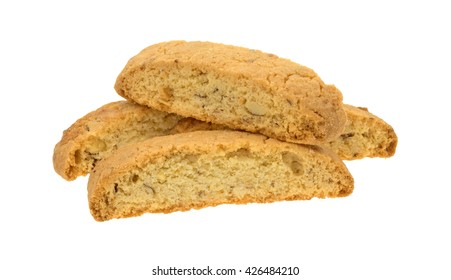 Several almond nut biscotti isolated on a white background.