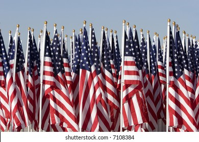 Several American Flags lined up