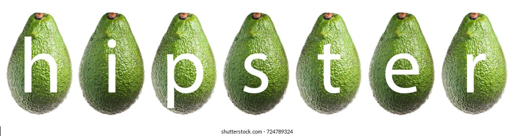 Several avocados isolated on white background with white letters in the form of words hipster, clip art
