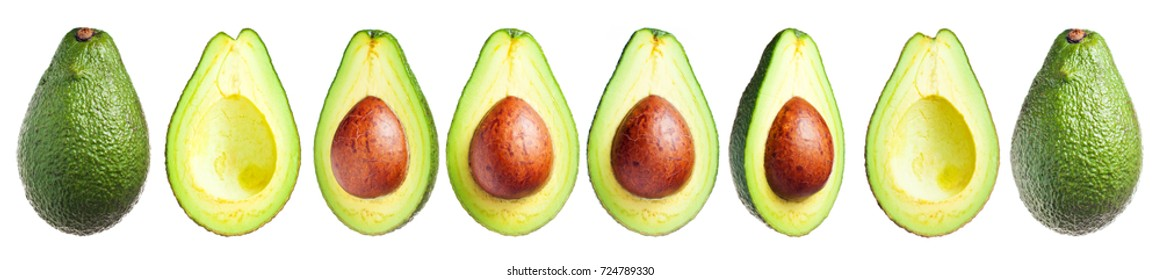 Several avocados whole and cut, with a seed and without isolated on a white background, clip art