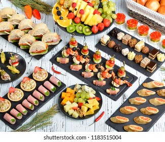 Several beautiful and tasty dishes for a buffet or a banquet