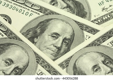 several bills of one hundred American dollar abstract background