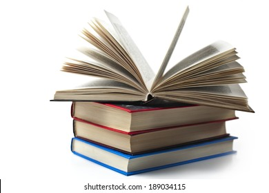 several books on a white background