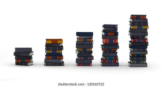 Several books stacks