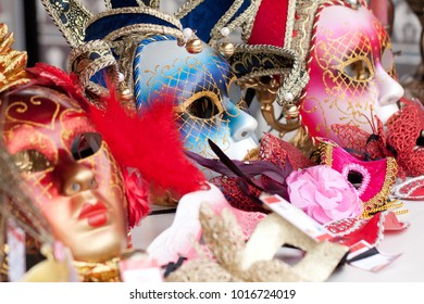several bright carnival masks prepared for a festival or celebration