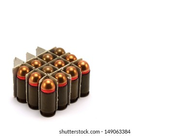 several bullets stacked in part of the boxes