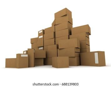 several carton boxes stacked