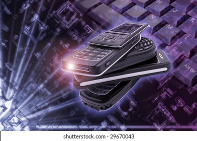 Several cellphones with high tech background