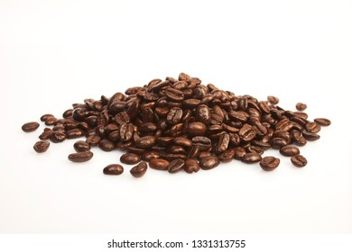 Several coffee beans on a white background