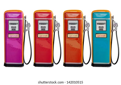 several color of old classic oil distributor in gasoline station service  isolated white use for retro and vintage style