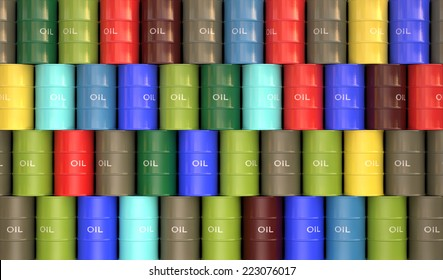 Several colored oil barrels stacked to form a wall.