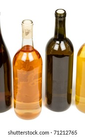 Several Colorful Bottles of Wine Isolated on a White Background