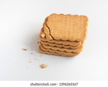 Several cookies on a white background