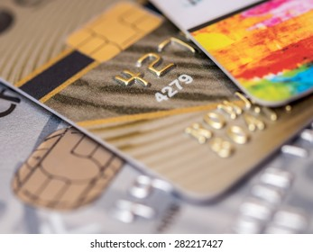 Several credit cards in very shallow focus
