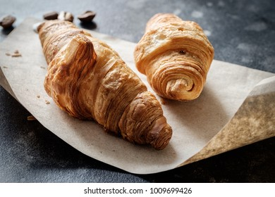 Several croissants close up