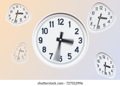 several curved white clock on isolated background