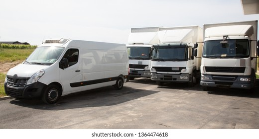 several delivery van white logistic truck for service transportation distribution