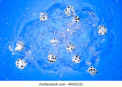Several dice combination and orientation on blue