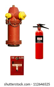 several different examples of fire fighting equipment isolated on white