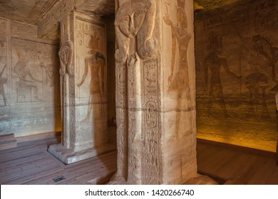 Several effigies of Hathor, depicted  in the Small Temple of Abu Simbel