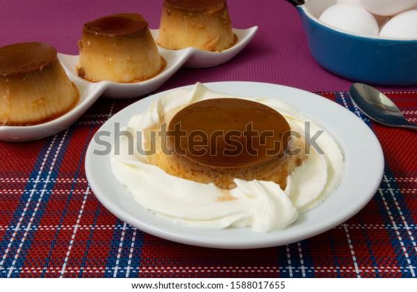 Several egg custard with cream