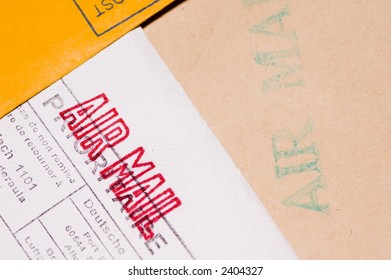 Several envelopes with stamps close up