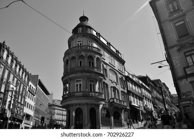 Several facades in Porto City, august 2015 17th. The downtown of Porto has the look of medieval architecture. The historical part of the city is indexed as world heritage by UNESCO.