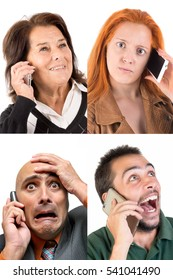 Several faces at the phone isolated in white