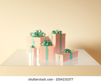 Several festive cute boxes with gifts in a wrap are on a plane on a light background. Render picture 3d model for backgrounds, postcards, prints and messages.