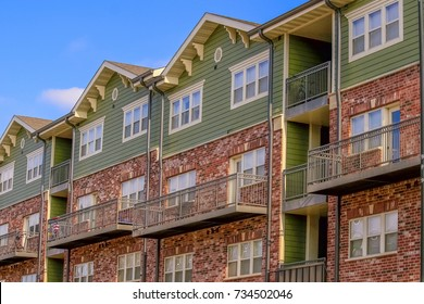 Several floor high multifamily building in a Midwestern town, USA