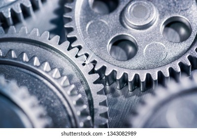 Several gears as a detail, two intermesh