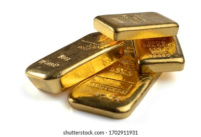 Several gold bars of different weight isolated on a white background.
