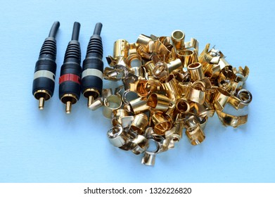 Several gold plated video cable connectors have been recovered and will be refined further with aqua regia to get pure gold bullion from recycled materials.