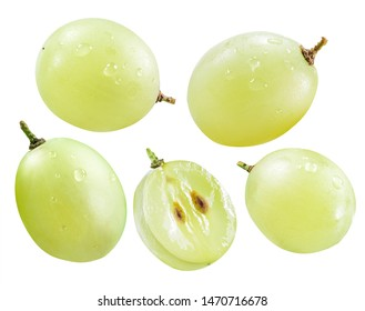 Several green grape berries isolated on the white background. Clipping path.