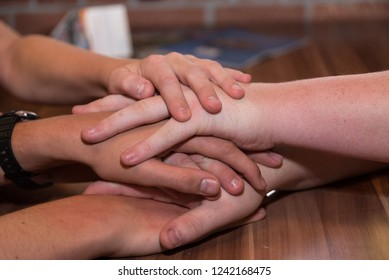 several hands agree on each other - close-up