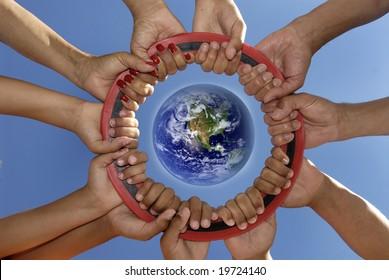 Several hands holding together