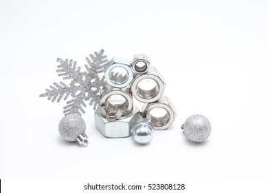 several iron bolts from M30 to M3, from big to small and christmas balls