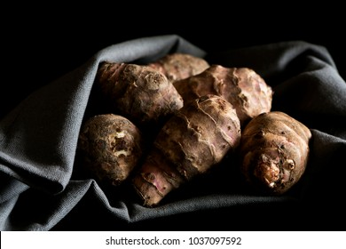 Several Jerusalem artichokes on a gray cotton napkin. The Jerusalem artichoke also called sunroot, sunchoke, earth apple, or topinambour.