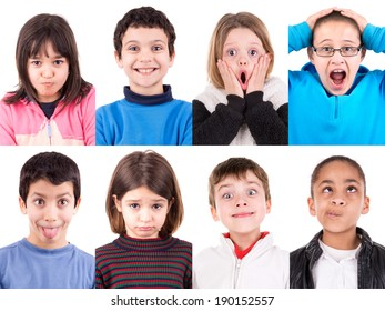 Several kids making funny faces