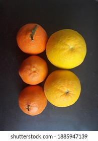 Several kinds of citrus on the table