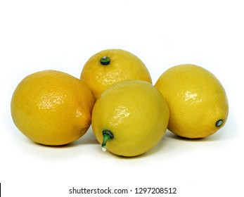 Several lemons on a white background