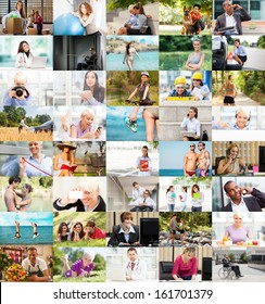 Several Lifestyle images arranged together into a colorful collage