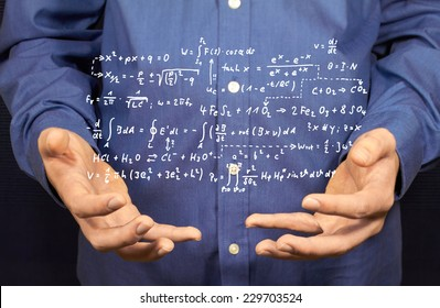 Several mathematical formulas float above two hands.