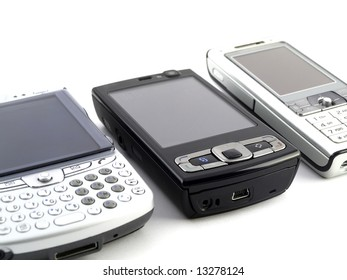 Several Modern Mobile Phones on White Background