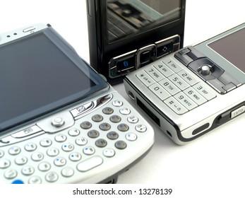Several Modern Mobile Phones on White Background