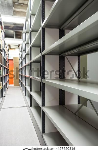 Several Movable Shelves Basement Building Stock Photo Edit Now 427920316