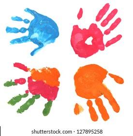 several multicolored children fingerprints on a white