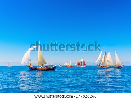 Several Old Classic Wooden Sailing Boats Stock Photo Edit Now