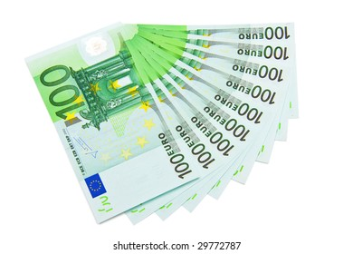Several one hundred euro bank notes isolated on white