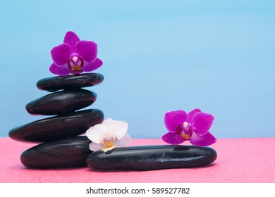 several orchid on black stones as a background for an inscription